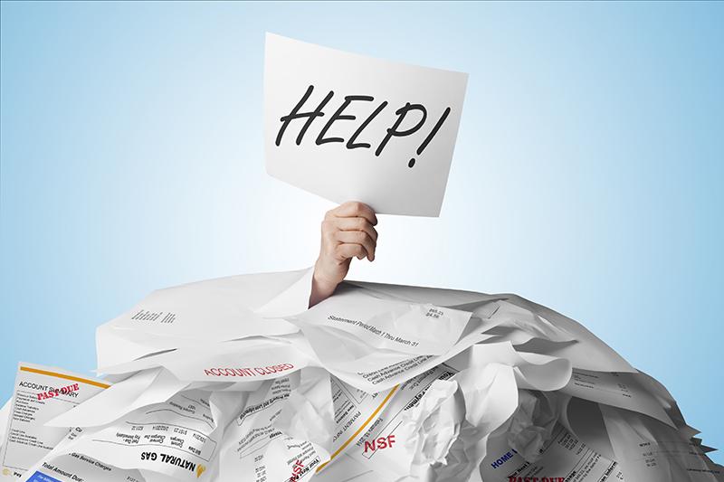 debt, papers, bills, help, buried, hand