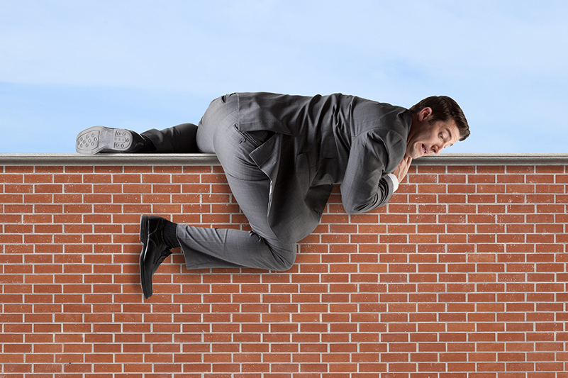 businessman, wall, climbing, obstacles