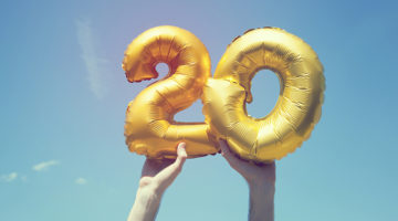 20 years, anniversary, birthday, gold balloons