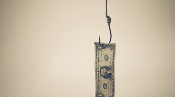 hook, fishing line, money