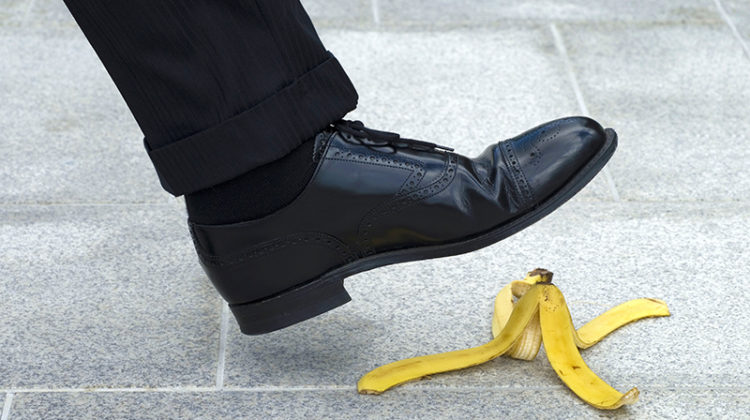 businessman, shoe, banana peel, slips, trips, falls