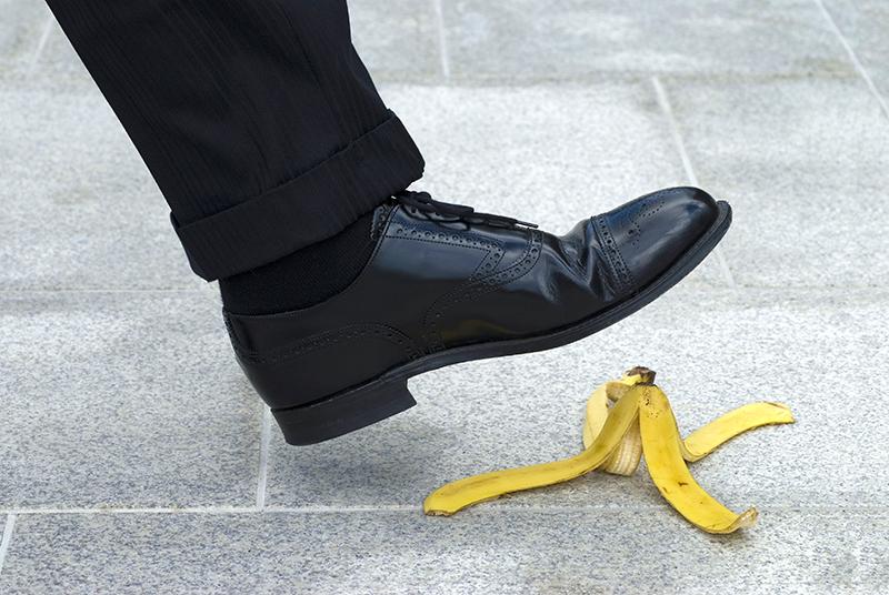 businessman, shoe, banana peel, slips, trips, falls