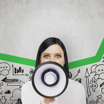 megaphone, marketing, profits, increase, woman