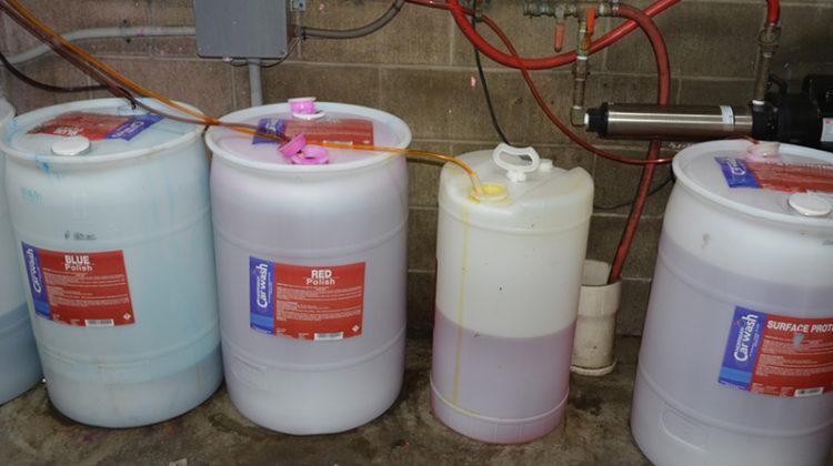 chemical, chemicals, lines, drums, backroom, carwash