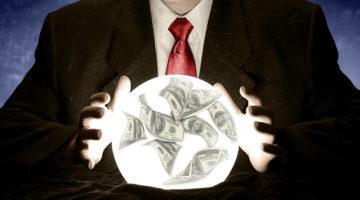 crystal ball, money, cash flow forecast, businessman
