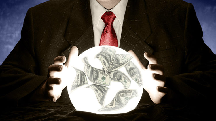 crystal ball, money, cash flow forecast, businessman