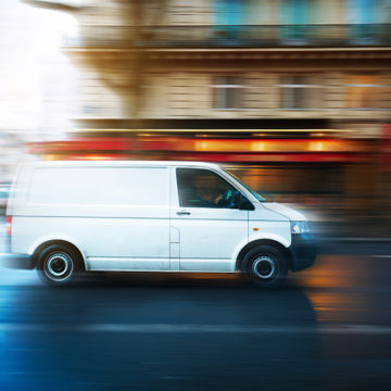 van, speeding, street, city