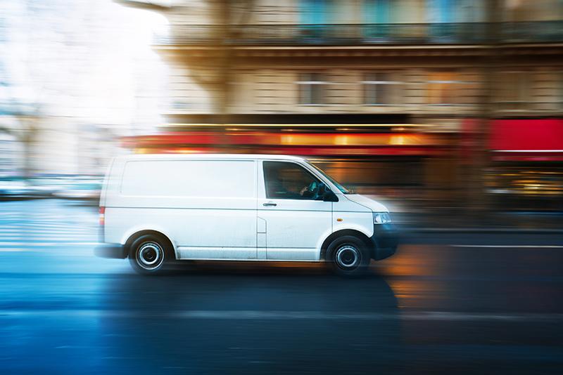 van, speeding, street, city