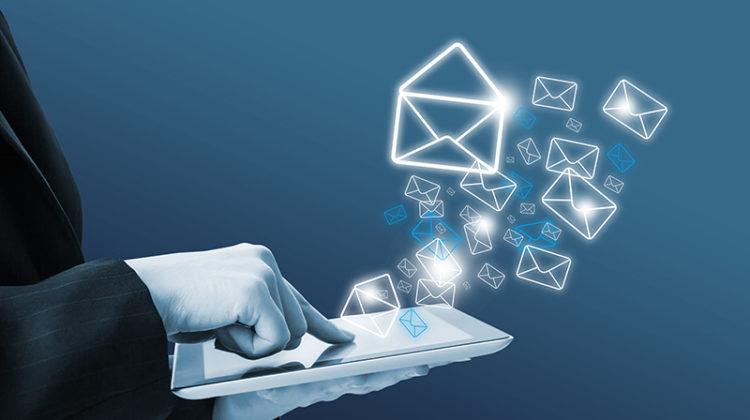 email marketing, tablet, hand, businessman, online, branding
