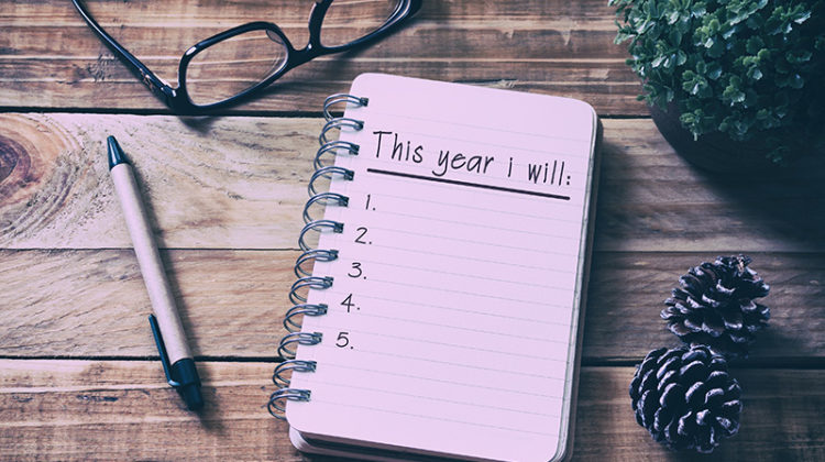 new year's resolutions, goals, notebook, glasses, pen