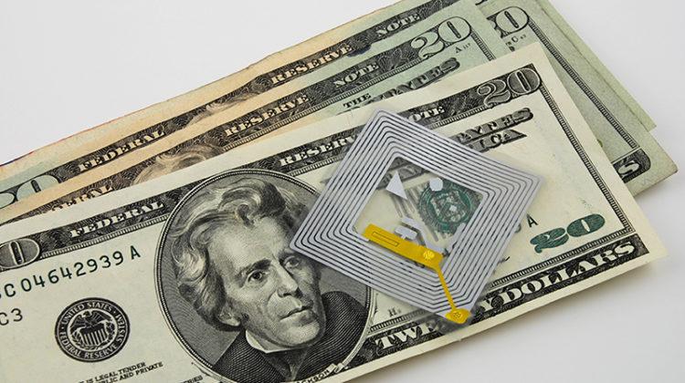 money, RFID tag, sticker, dollar bills, dollars