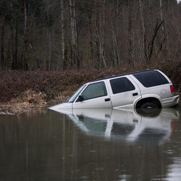 car, creek, water, SUV, vehicle, flooded