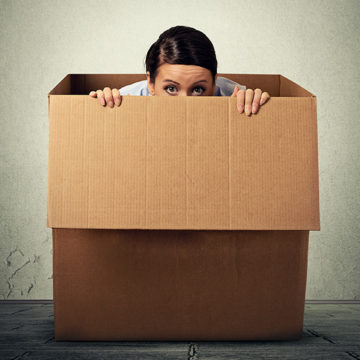 quiet worker, employee, shy, box