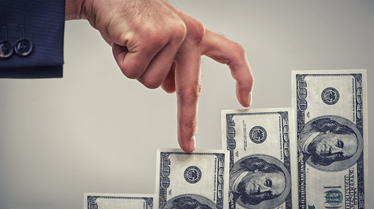 money, hand, businessman, chart, increase, upselling