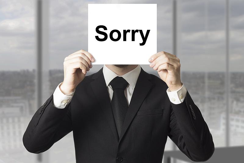 sorry, apology, protecting brand reputation, businessman