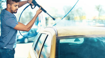 self-serve carwash, gun, hose, spring, bay