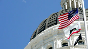California, Capitol, U.S. flag, dome