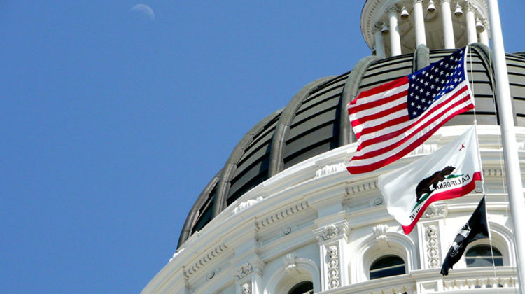 California, Capitol, U.S. flag, dome