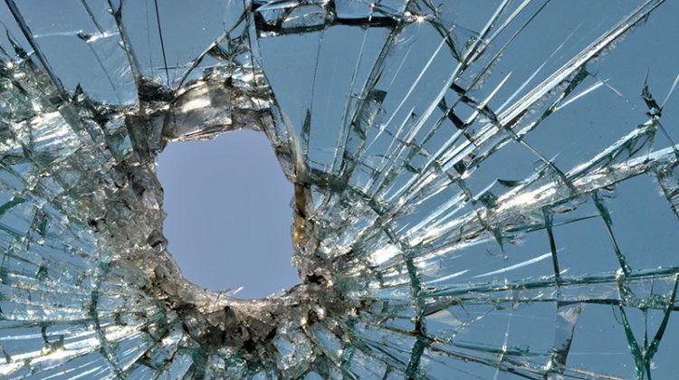 shattered windshield, broken glass