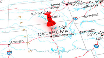 map, Oklahoma, Oklahoma City, push pin