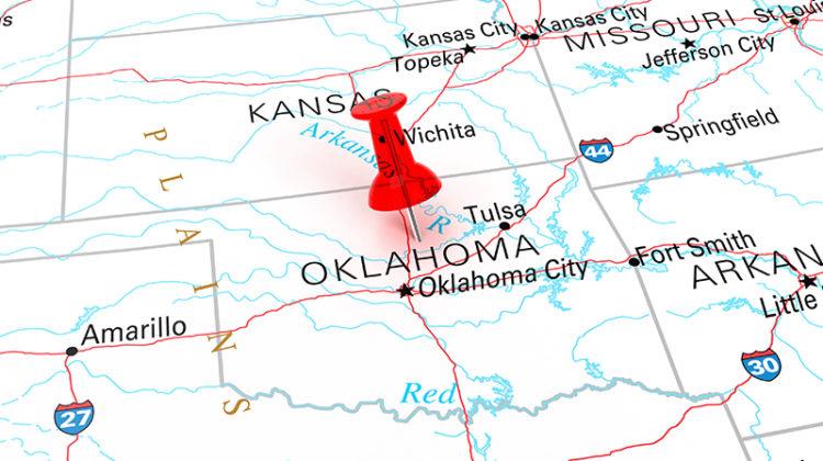 map, Oklahoma, Oklahoma City, push pin