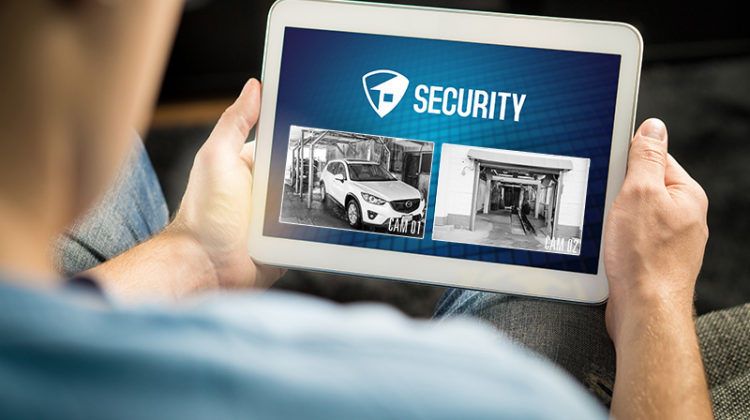 tablet, surveillance system, security footage, carwash, man