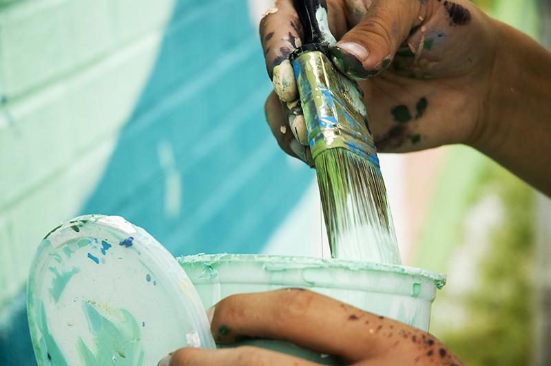 art, paint, wall, mural, hands, brush