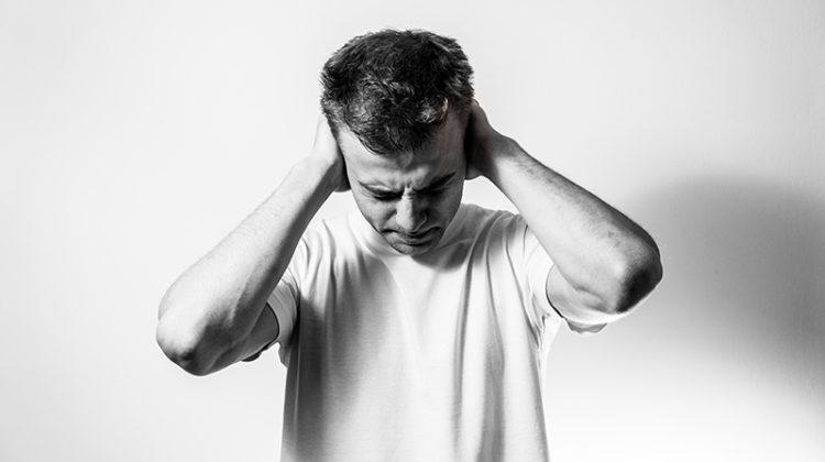 noise, loud, man covering ears