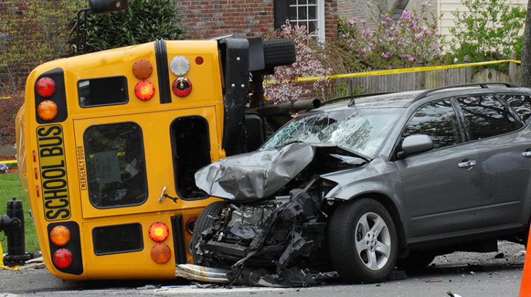 bus, car, crash, accident, collision