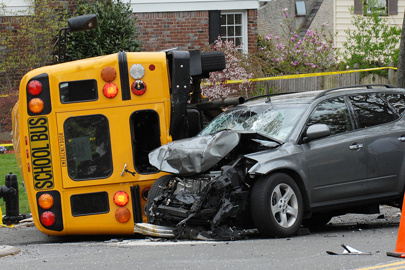 bus, car, crash, accident, collision