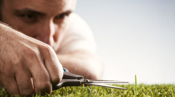 perfectionist, belief systems, mindset, man, grass, scissors
