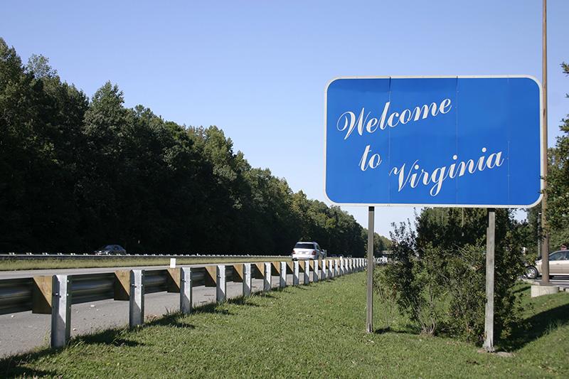 Virginia, VA, welcome, sign, highway, road