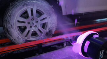 wheel cleaning, wheel cleaner, conveyor, tunnel, chemical