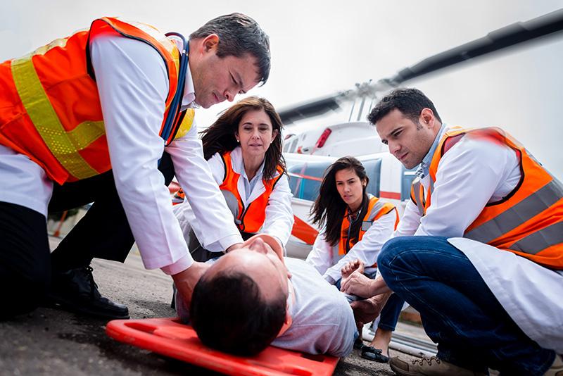 medical emergency, helicopter, paramedics