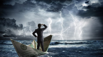 storm, money, boat, water, businessman, cash flow, finances