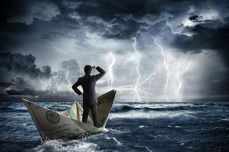storm, money, boat, water, businessman, cash flow, finances