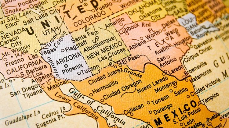 Texas, New Mexico, Arizona, Mexico, Colorado, map