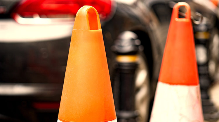 orange traffic cones, safety, car