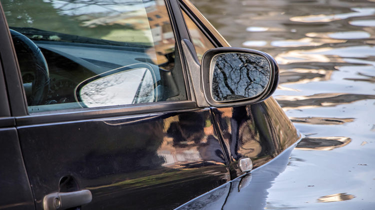 car, river, flooded, water, lake