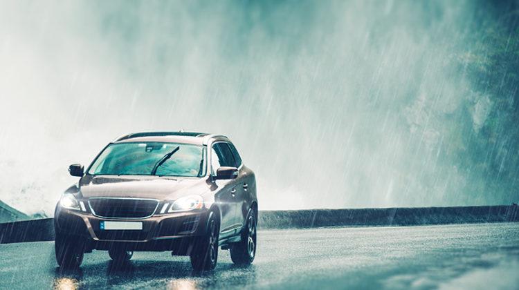 rain, car, road, windshield wipers