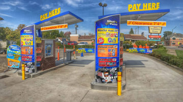carwash, menus, pay stations