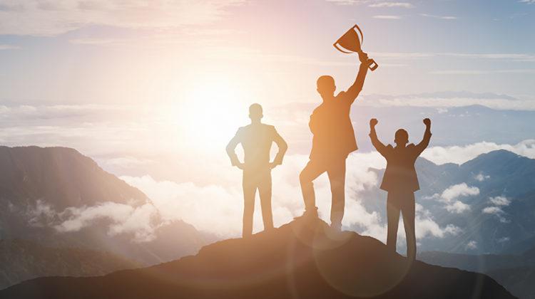 scaling, success, achievement, businessmen, trophy, mountain