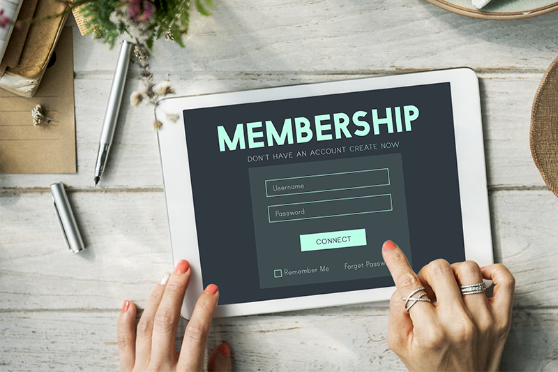 membership, program, log in, tablet