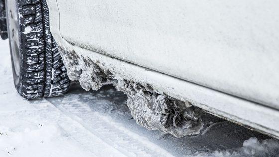 snow, sludge, slush, rust, undercarriage, car